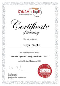 Instructor Certificate Denys Chaplin